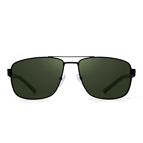 ad4edf26c Polarized Driving Aviator Sunglasses Metal Frame Square Lenses Glasses Men  Women (Black/Polarized Green