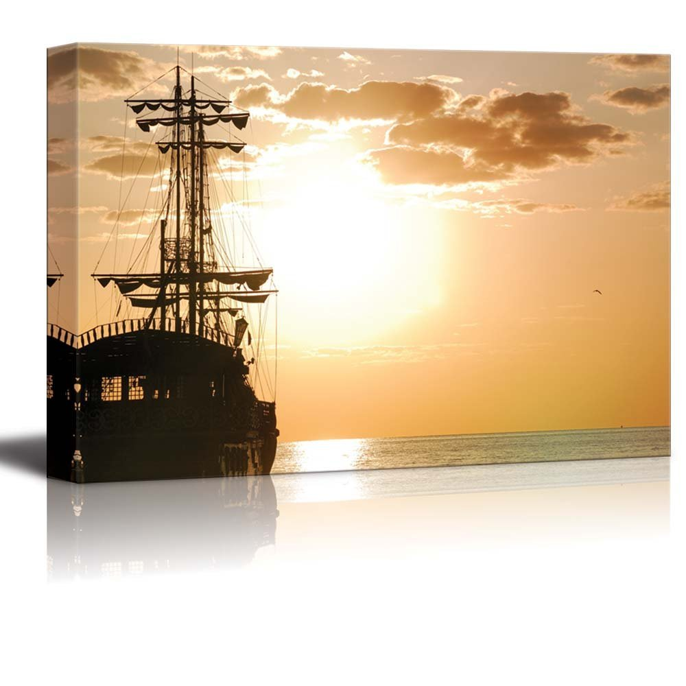 Pirates Ship at Sea in Horizontal Orientation at Sunset Wall Decor ...