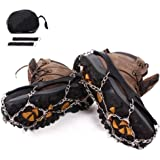 Cycorld Microspikes Traction Ice Cleats with 18 Teeth Stainless Steel, Snow Spikes Shoes Grip, Crampons for Hiking Boots, Climbing Snowshoe Chain Tracks