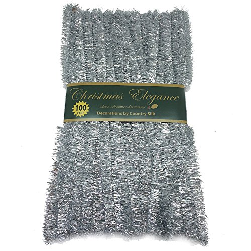 100 FT Commercial Length Christmas Garland Classic Christmas Decorations, Silver -