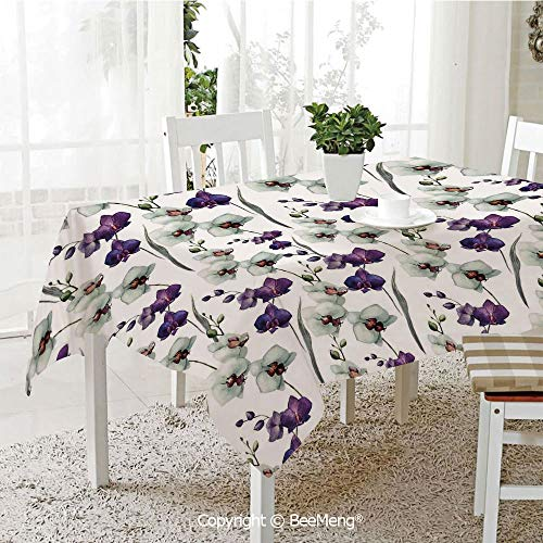 large dustproof waterproof tablecloth,family table decoration,Watercolor Flower,Wild Orchid Family Flowerpot Plants with Blooms Romantic Floral Decor Art Decorative,Purple White,70 x 104 inches