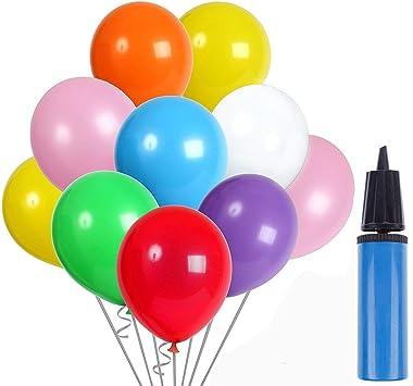 AYUTOY 100pcs Globos de látex Globos de Fiesta de Colores Diversos con Bomba Manual para Bodas, Fiestas de Cumpleaños: Amazon.es: Juguetes y juegos