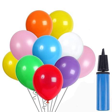 AYUTOY 100pcs Globos de látex Globos de Fiesta de Colores Diversos con Bomba Manual para Bodas