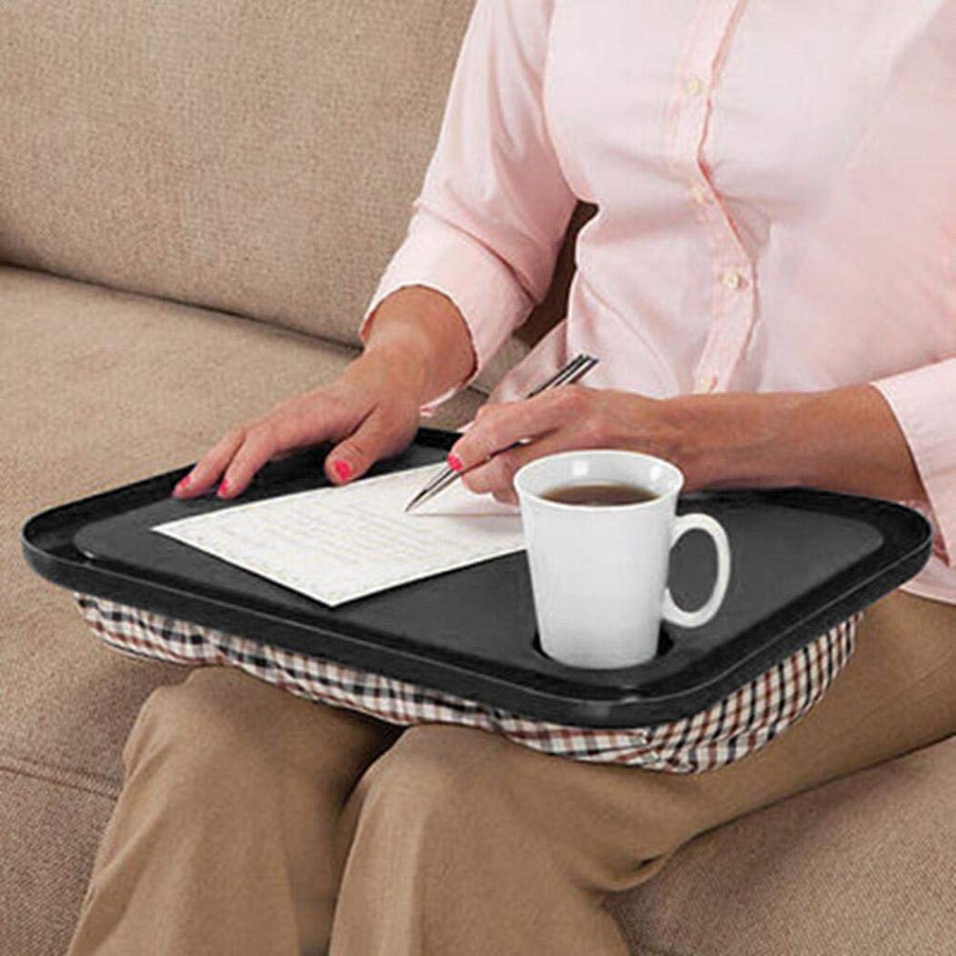 Lap Desk - Ikevan Lap Desk For Laptop Chair Student Studying Homework Writing Portable Dinner Tray - Black