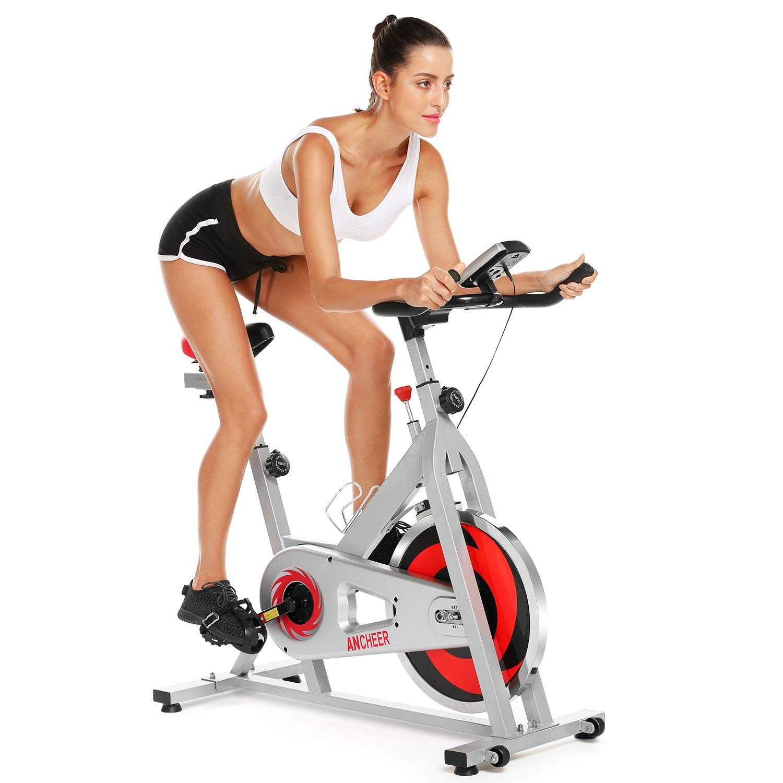 ANCHEER Indoor Cycling Bike, Belt Drive Indoor Exercise Bike with 49LBS Flywheel (Model: ANCHEER-B3008) (Red)
