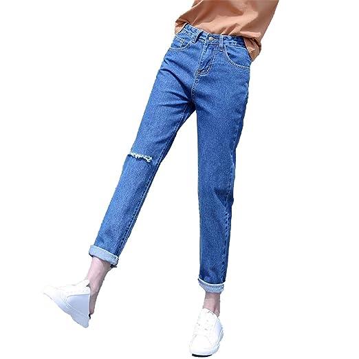 a348ed94b83 Image Unavailable. Image not available for. Color  9jubyggfmh plants  Boyfriend Jeans for Women Trousers Pencil Pants Denim Ripped Jeans Woman  Plus Size 34