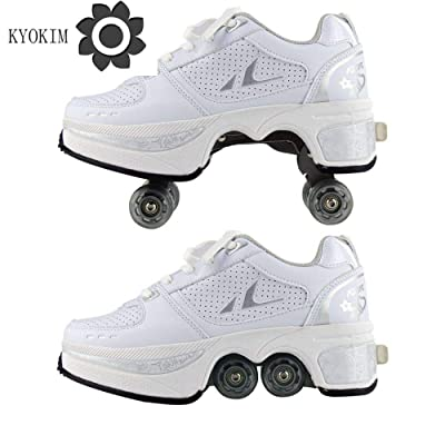 KYOKIM Sneakers Shoes Wheels Quad Roller Pulley Ice Skates for Adult Outdoor Sports Automatic Walking Shoes Invisible Multifunctional Deformation Roller Shoes,White-35: Home & Kitchen
