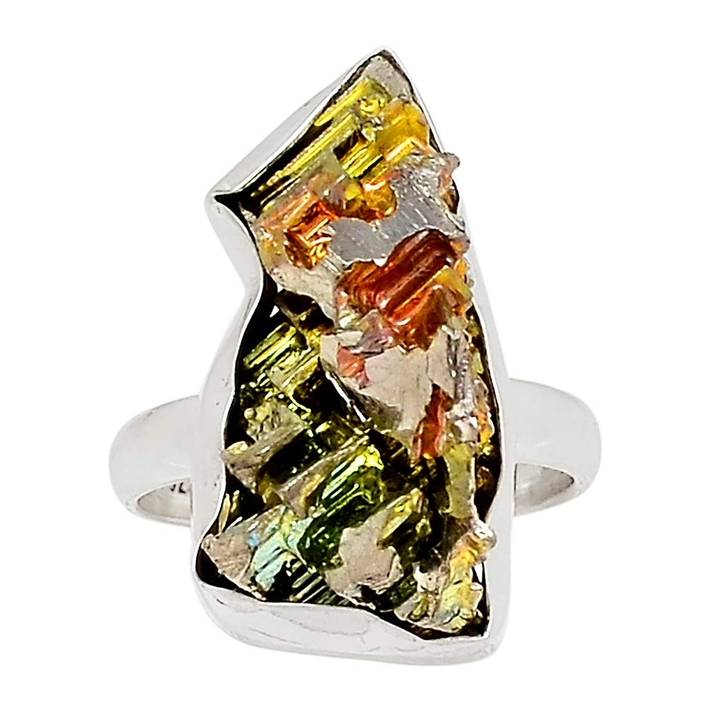 Xtremegems Bismuth Crystal 925 Sterling Silver Ring Jewelry Size 8 27170R
