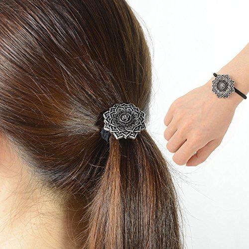 Ponytail Holder Celtic Hair Tie -Viking Women's Hair Accessory Versatile Celtic Hair Tie Bracelet Yoga Inspired Om Lotus Mandala Flower Amulet Jewelry Hair Bands Up/down for Audlts/Kids/Girls (F-M)