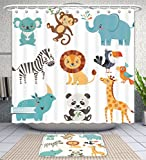 Unique Custom Bathroom 2-Piece Set Set Of Cute Animals Isolated On White Background Shower Curtains And Bath Mats Set, 79''Wx71''H & 31''Wx20''H