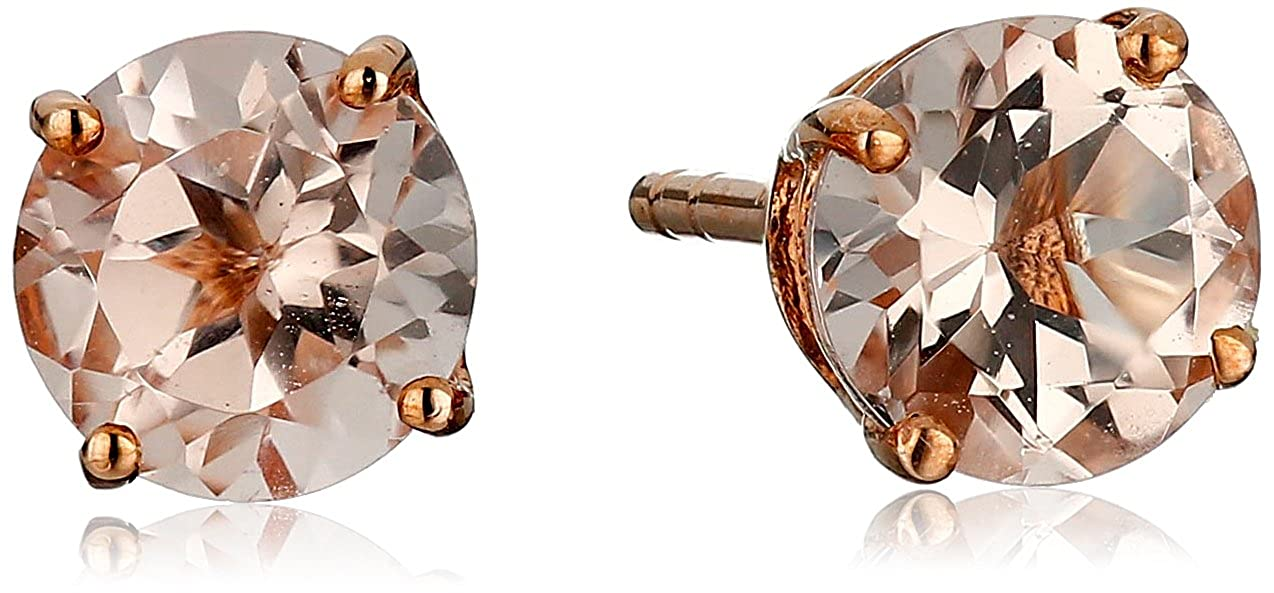 10k Rose Gold Morganite Round Stud Earrings Amazon Collection E2644RMORG