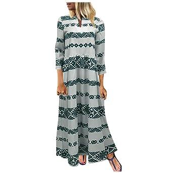 Hupoop❤❤❤ Vestido Largo de Manga Larga con Cuello Redondo y ...