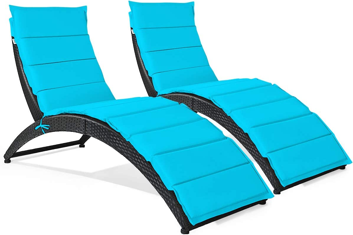 Tangkula Foldable Patio Lounge Chair, Outdoor Rattan Lounger Chaise, Portable Patio Chaise with Cushion, All-Weather Wicker Furniture for Garden Lawn Balcony Backyard Poolside (2, Turquoise)