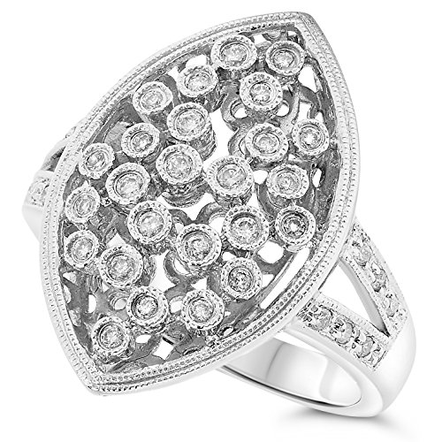 - JewelryBliss 14k White Gold Diamond Cocktail Cluster Ring