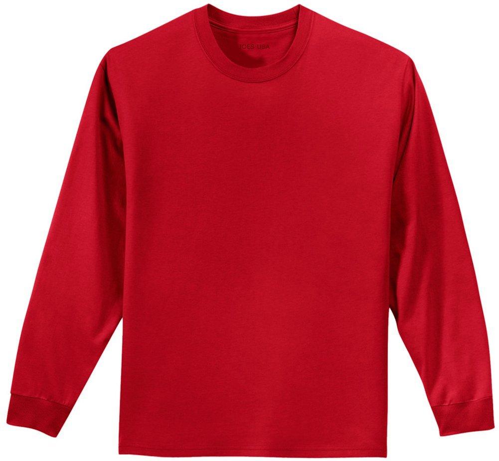 Joe's USA Youth Long Sleeve Heavyweight Cotton T-Shirts,Red,Medium