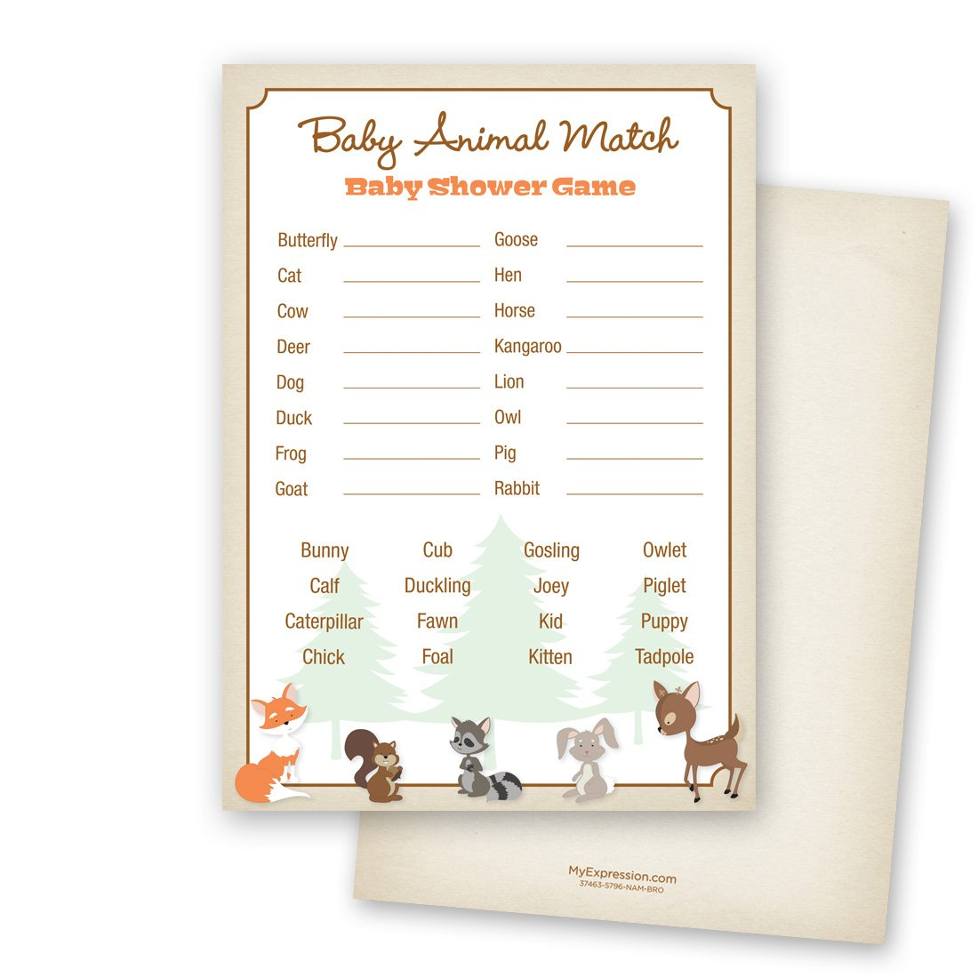 24 cnt Woodland Animals Baby Animal Name Game