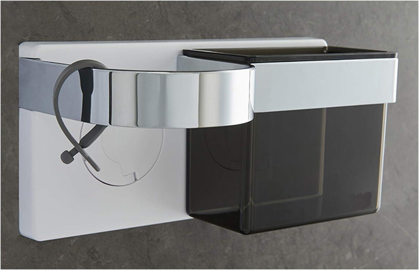 acero inoxidable Soporte para secador de pelo con soporte para ventilador sin clavos adhesivo soporte en espiral para cuarto de ba/ño montaje en pared
