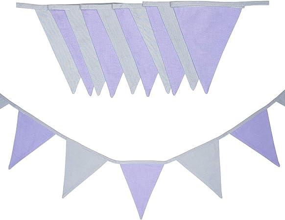 cozydots - Guirnalda de banderines de Doble Cara, Guirnalda de Tela, guirnaldas Coloridas para habitación Infantil y cumpleaños, decoración para habitación Infantil, 100% algodón (viollet, 200): Amazon.es: Hogar