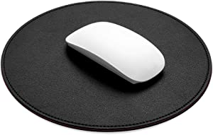 ProElife Mouse Pad for Computer Laptop Accessories, Anti Slip Cute Round Mouse Pad Waterproof PU Leather 8.66-Inch Circular Mousepad Stitched Edges Mat for Home Office School Gaming (Black)