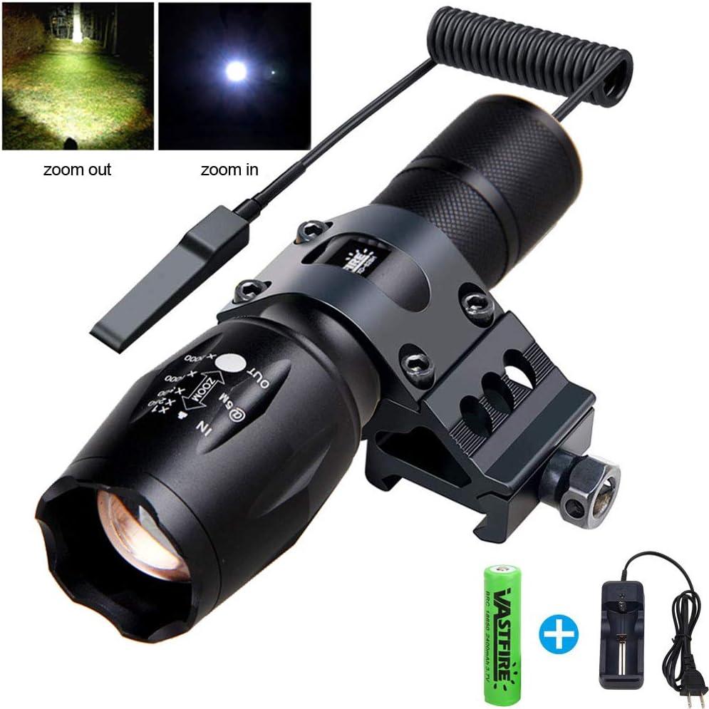 VASTFIRE - Linterna táctica con zoom (500 lúmenes, 150 yardas, 1 modo Picatinny, con interruptor de presión de doble función de 45°