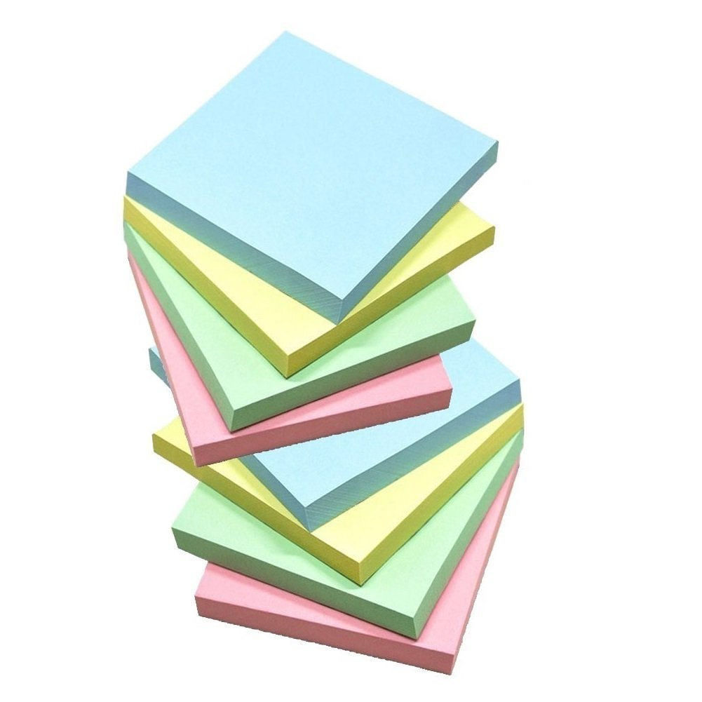 Sticky Notes, Memo Self-Stick 8 Pads/Pack,100 Sheets/Pad, 3 inch X 3 inch, Squares 4 Colors Child Fresh Easy Post Rayhee