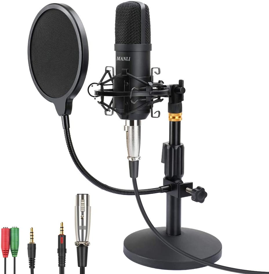 Professional Studio Condenser Microphone Computer PC Microphone Kit with 3.5mm XLR/Pop Filter/Scissor Arm Stand/Shock Mount for Professional Studio Recording Podcasting Broadcasting, Black: Home Audio & Theater