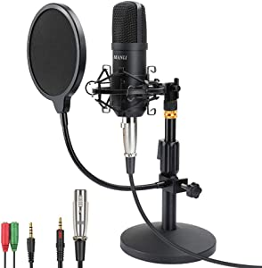 Professional Studio Condenser Microphone Computer PC Microphone Kit with 3.5mm XLR/Pop Filter/Scissor Arm Stand/Shock Mount for Professional Studio Recording Podcasting Broadcasting, Black