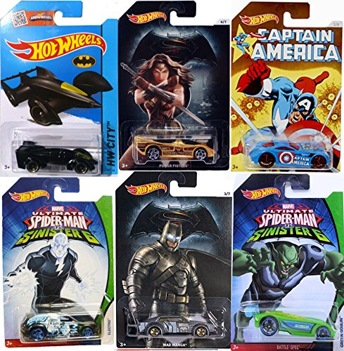 Comic Super Hero Hot Wheels Spider-Man VS Batman Captain America VS Wonder Woman VS Sinister 6 Green Goblin - Electro Fandango Ultimate Spider-man / power pistons Sir Ominous Batman Live