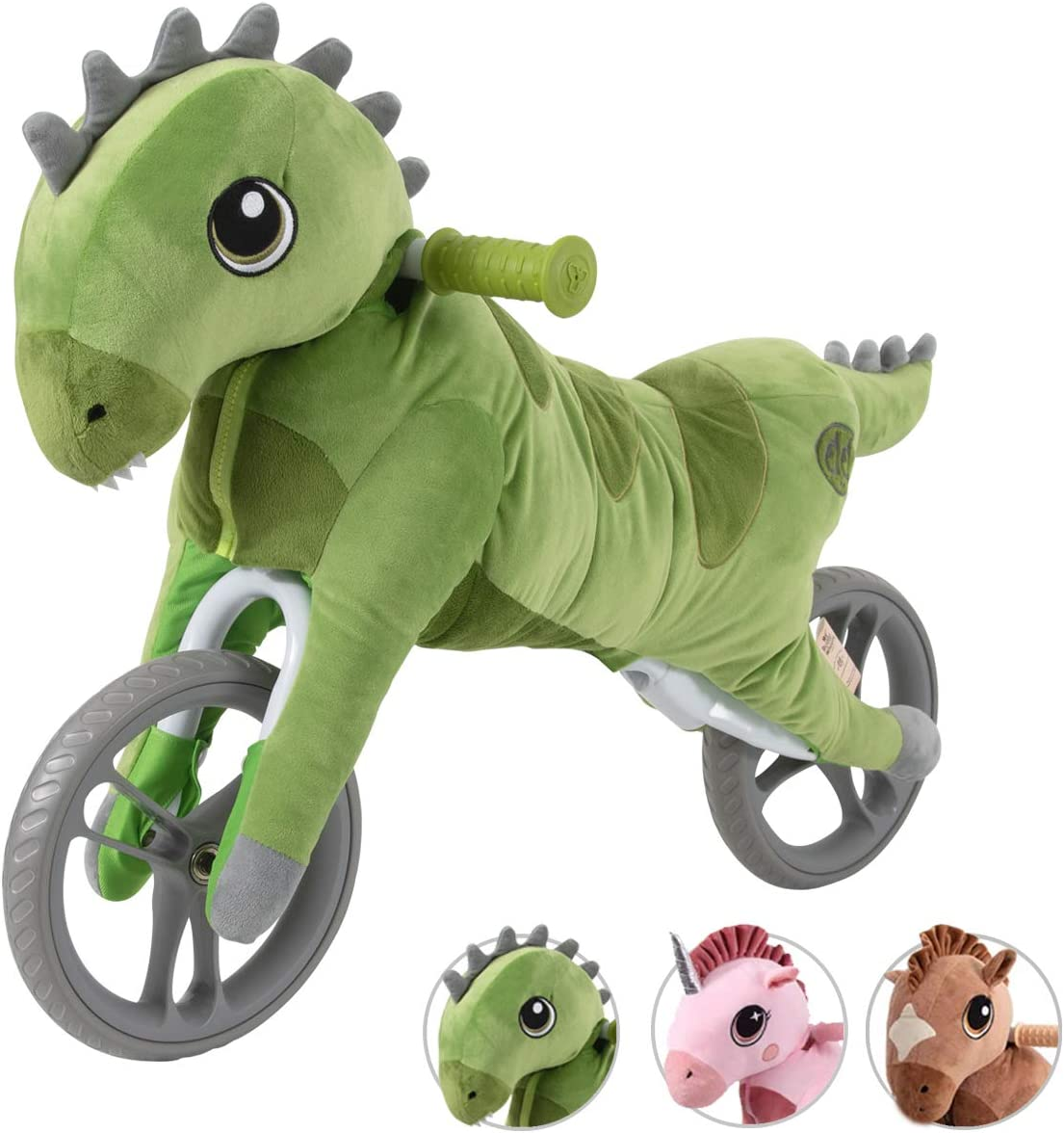 Yvolution My Buddy Wheels Dino Unicorn Horse Balance Bike with Plush Toy | Training Bicycle for Toddlers Age 2 Years +