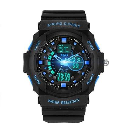 JHGFRT Hombre Estudiante Reloj Digital Digital Deporte Adolescente Despertador Impermeable Inteligente Estudiante De Secundaria,Blue