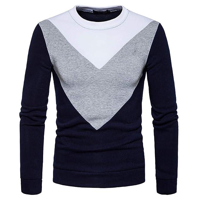 Gusspower Sudaderas de Cuello Redondo, Chaqueta sin Capucha para Hombre Camisetas Chandal Sportswear Pullover Sweater Patchwork Blouse: Amazon.es: Ropa y ...
