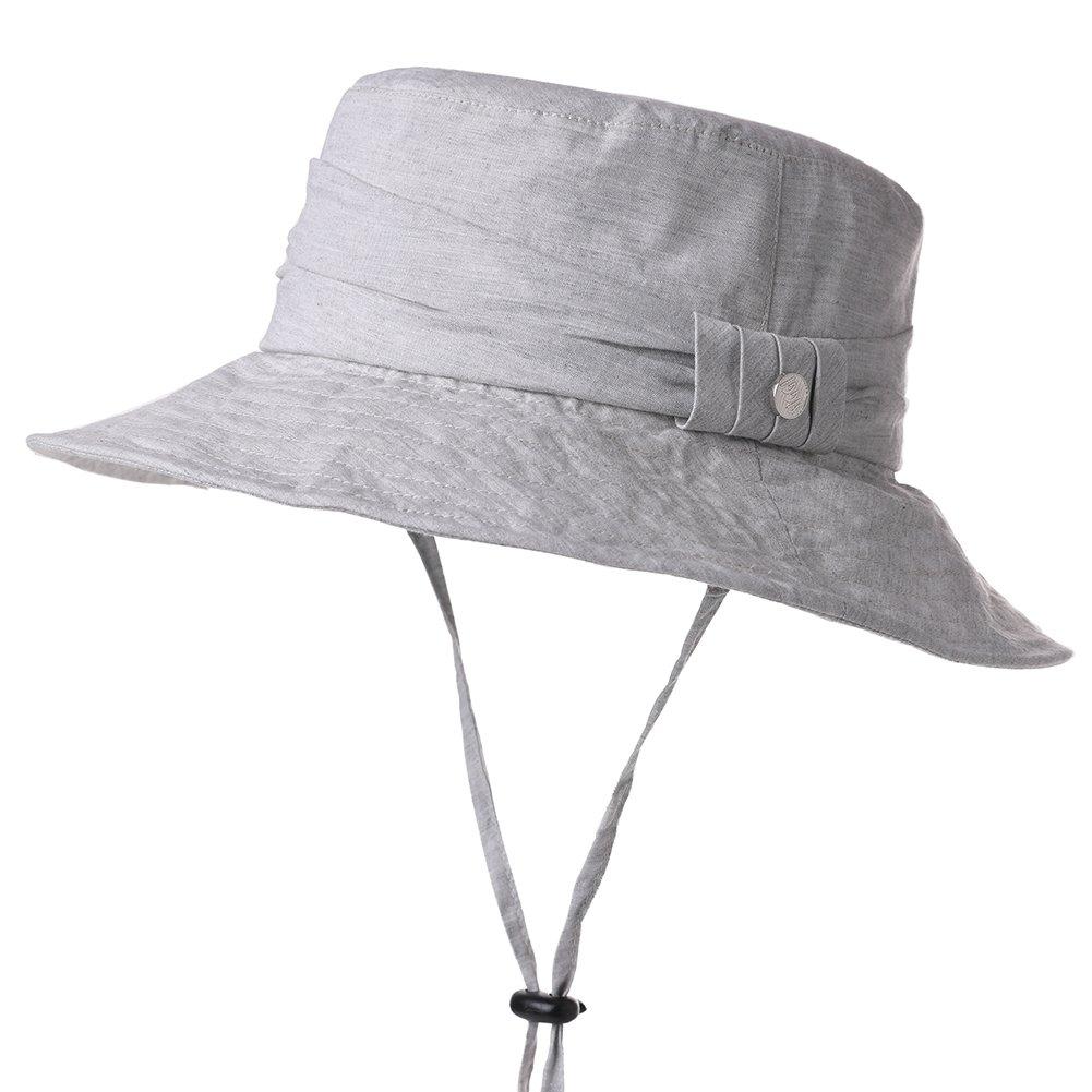 Summer Hats for Women Sun Protection UV Foldable Beach Safari Hat Cotton UPF Gray SiggiHat