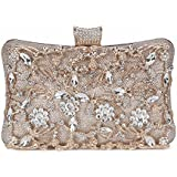 Tanpell Womens Crystal Evening Clutch Bag Wedding Purse Bridal Prom Handbag Party Bag Champagne