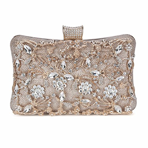 (Tanpell Womens Crystal Evening Clutch Bag Wedding Purse Bridal Prom Handbag Party Bag)