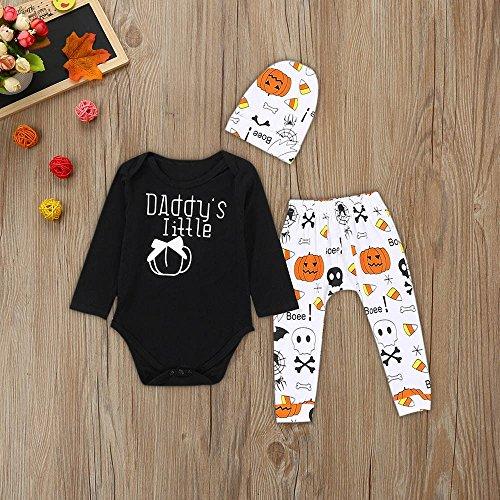 Playsuit Bambina BYSTE Outfits Bambino Nero Halloween Stampa Fumetto Pagliaccetto Bambini 3Pcs Bodycon Ragazze Neonato pantaloncini Tutina zucca Ragazzi Pigiama g77na