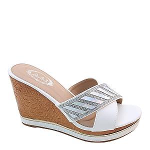 New Brieten Women's Rhinestone Cross Strappy Metal Ornament Wedge Platform Comfort Slides Sandals (5.5, White)
