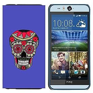Cubierta protectora del caso de Shell Plástico || HTC Desire Eye ( M910x ) || Modelo púrpura Cráneo floral Muerte @XPTECH