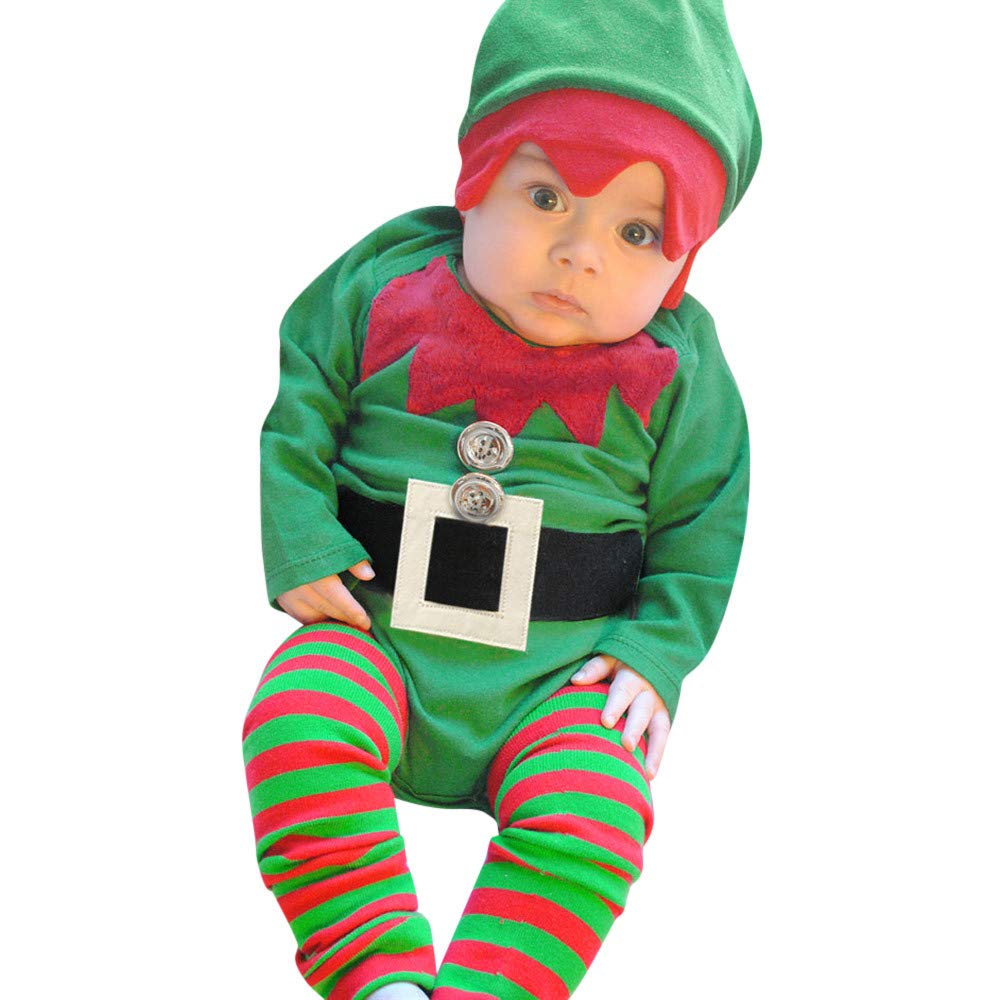 Matoen Infant Baby Boys Girls Christmas Embroidery Romper+Striped Legs+Hat 3pcs