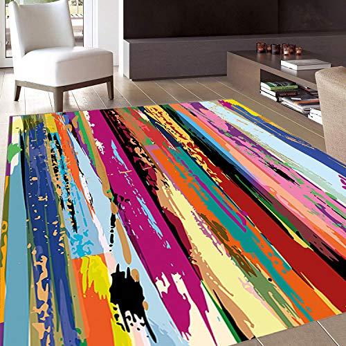 Rug,FloorMatRug,Abstract,AreaRug,Multicolored Expressionist Work of Art Vibrant Rainbow Design Tainted Pattern,Home mat,2'x3'Multicolor,RubberNonSlip,Indoor/FrontDoor/KitchenandLivingRoom/Bed