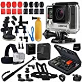GoPro Hero 4 BLACK Edition Camera KIT + AHDBT-401 Battery + Dual charger + Custom Fitted Case + Car Mount + Head Strap + Chest Strap + Selfie Stick Monopod + Bike Mount + Helmet Mount + More