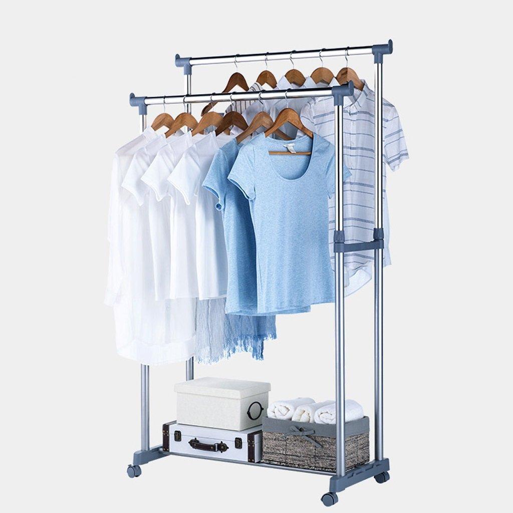 GLJJQMY 調節可能な洋服ハンガー、ローリングフロアの洋服ハンガー、ダブルハンガーレール、収納および靴のスタンド、91 cm x W 44 x H 100-172 cm、(ステンレス鋼) 乾燥ラック B07RZ3QR3N