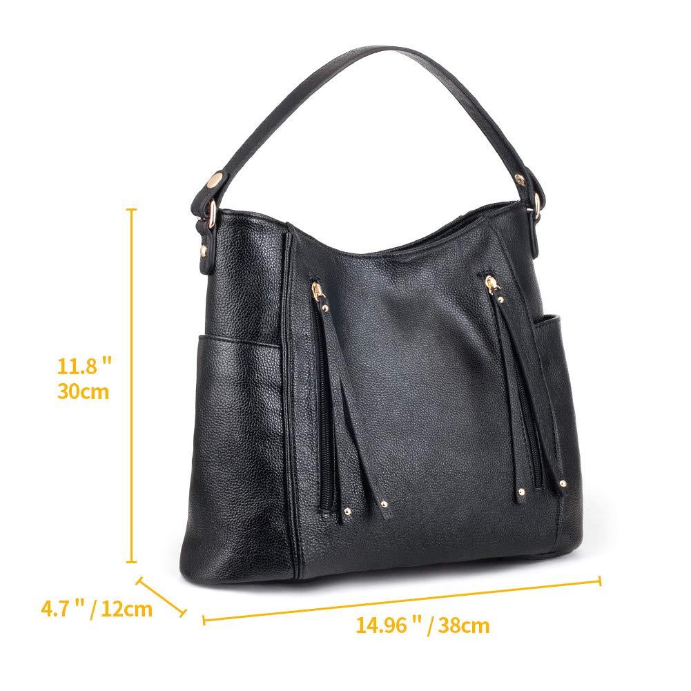 df4f725850e1 Leather Tote Bag for Women, P.KU.VDSL Large Handbag with Zipper Hobo ...