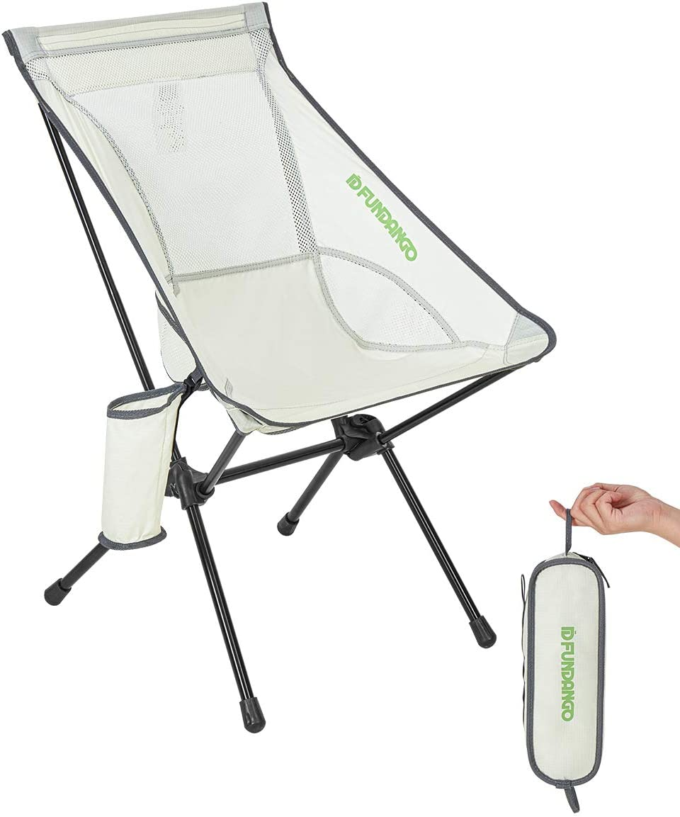 FUNDANGO Ultralight Folding Camping Chair, Portable High Back Backpacking Chair with Pocket in a Carry Bag Compact for Outdoor Camp, Travel, Picnic, Fishing, Hiking, BBQ