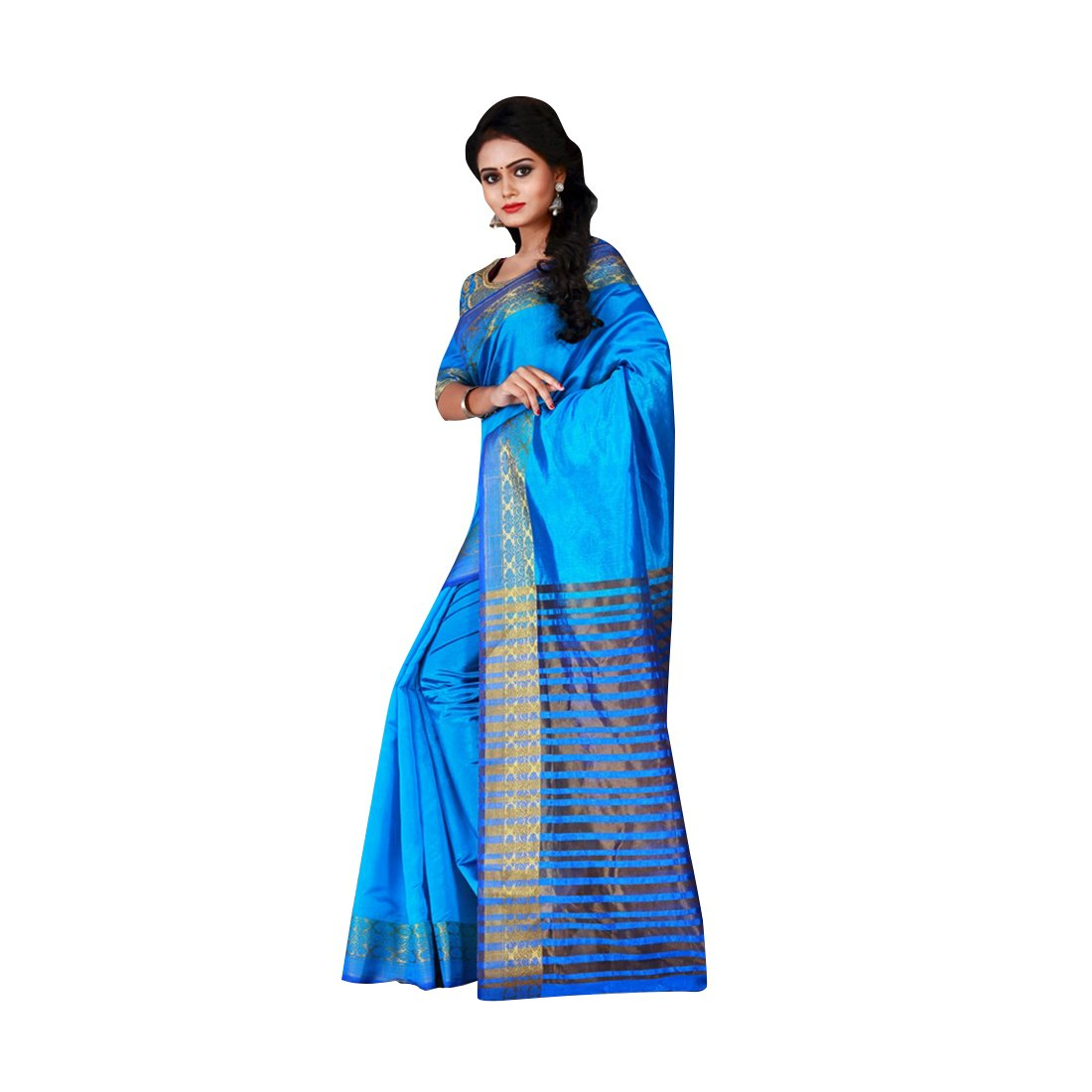 e94ddc6676e89d Craftsvilla Women s Cotton Silk Zari Border Traditional Sky Blue Saree with Blouse  piece  Amazon.in  Clothing   Accessories
