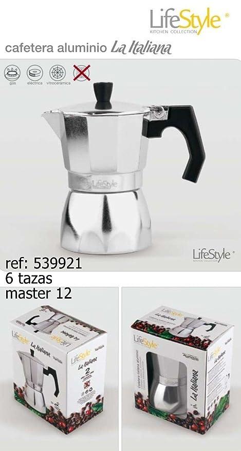 Life Style - Cafetera Espresso La Italiana - Aluminio - 6 Tazas - Plata