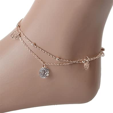 anklets from gold in anklet foot w rose fashion chain stainless bracelet jewelry leg layer double women butterfly item steel
