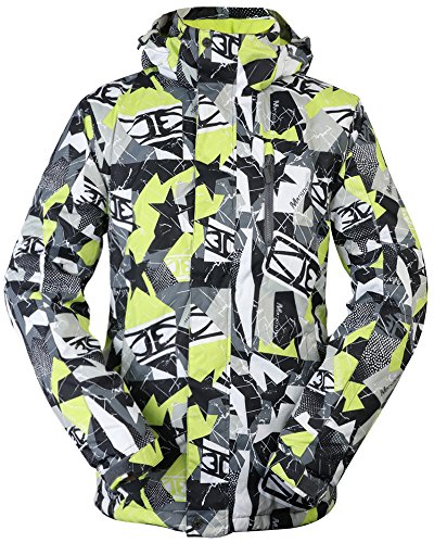 Green Snowboard Jacket (TUONROAD Ski Jacket, Mens Waterproof Windproof Snow Jackets With Removable Cap Mountain Outdoor Snowboard Softshell Sportswear Hollow-Fabric Filling Keep Warm For Winter Sport)