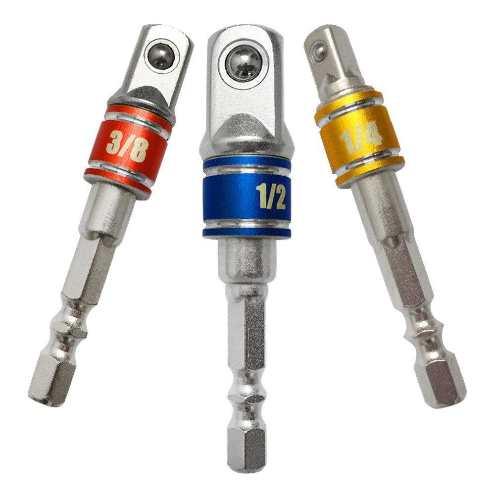 Impact Grade Driver Universal Socket Adapter Set+105 Degree Right Angle Drill Screwdriver Set Drill Hex Bit,3Pcs1//43//81//2Hex Shank Bit Square Nut Driver Set Drill Bit Cordless Socket Wrench Set