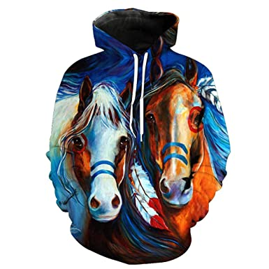 8108add7b895 Casual Men Women Cool 3D Print Yellow Horse Animal Pattern Slim Stylish Hooded  Hoodies Winter Outdoor