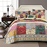 Tache Home Fashion Paradise Medley Patchwork Quilted Bedspread Set - Bright Vibrant Multi Colorful Yellow Floral Print - Twin - 2-Pieces